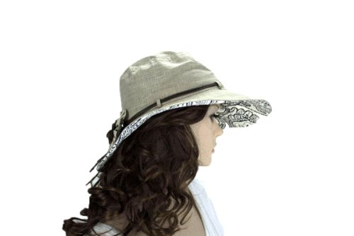 Noonies Boutique Sheeny Shine KhakiCotton Hat 14'' w/ 4'' Brim