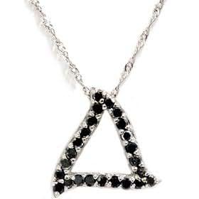 .25CT Black Diamond Pendant White Gold Triangle