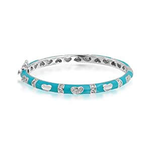 Bling Jewelry Baby Boy Bangle Bracelet Turquoise Blue Enamel CZ Pave Heart 5 Inch