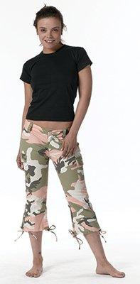 Women's Subdued Pink Camo Capri Pants - 19