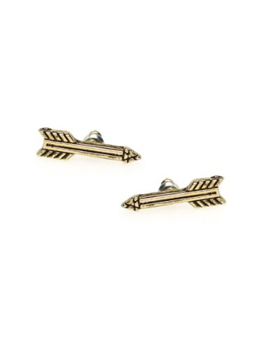 House of Harlow 1960 Jewelry Antiqued Arrow Stud Earrings - Gold