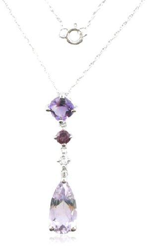 Sterling Silver Brazilian Garnet, Amethyst, White Sapphire Pendant Necklace