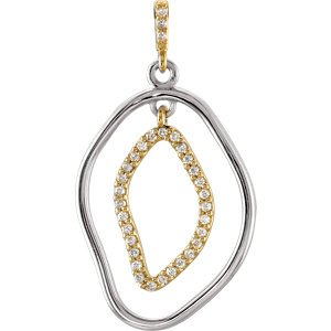 Genuine IceCarats Designer Jewelry Gift Sterling Silver & 14K Yellow Gold 1 1/6 Ct Tw Pendant Enhancer. 9/10 Ct Tw Diamond Pendant Enhancer 1 1/6 Ct Tw Pendant Enhancer In Sterling Silver & 14K Yellow Gold