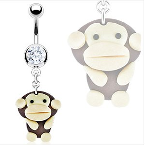 jewellery-sleuth-belly-bar-with-clear-cz-hardened-clay-dangling-monkey