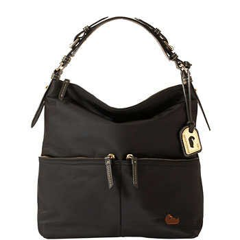 Dooney &#038; Bourke Nylon Medium Pocket Sac Black with Black Trim