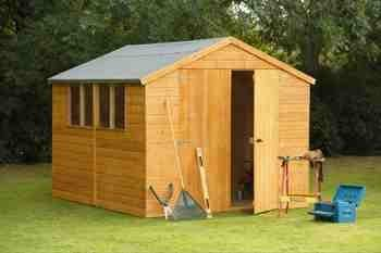10' x 8' Wooden Garden Shed or Workshop Double Door Apex Roof Shiplap Wood 10 Year Anti Rot Guarantee
