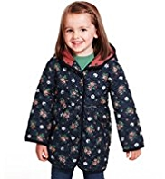 Hooded Ditsy Floral Quilted Coat with Mittens