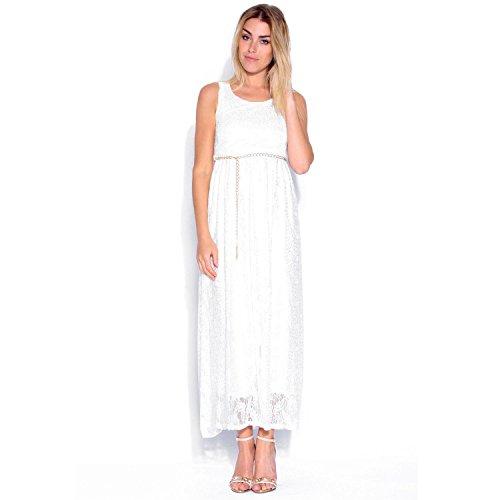 Janisramone Women Ladies Floral Lace Crochet Celeb Long Chain Belt Summer Maxi Dress White ML
