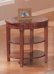 Wooden Round End Table with Glass Top in Cherry Finish #PD F61129 (F6129)