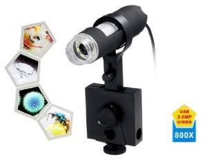 800X Magnification 8-Led Usb Digital Microscope With Adjustable Stand (Black)