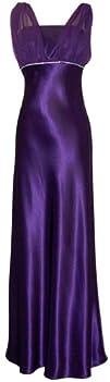 Satin Chiffon Holiday Bridesmaid Long Formal Gown Crystals