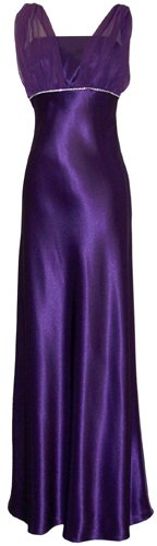 Satin Chiffon Prom Dress Holiday Formal Gown Crystals Full Length Junior Plus Size, 2X, Purple