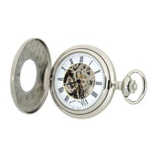 Mount Royal - Chrome Plated Half Hunter Skeleton Mechanical Pocket Watch - B7 - (WW1191) - 4.4cm diameter x 0.9cm depth