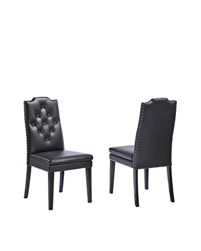 Baxton Studio Dylan Set of 2 Modern Faux Leather Dining Chairs