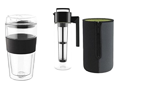 Takeya Cold Brew Coffee Maker/Thermo Jacket/Double-Wall Glass Tumbler (Takeya Pitcher 1 Qt compare prices)