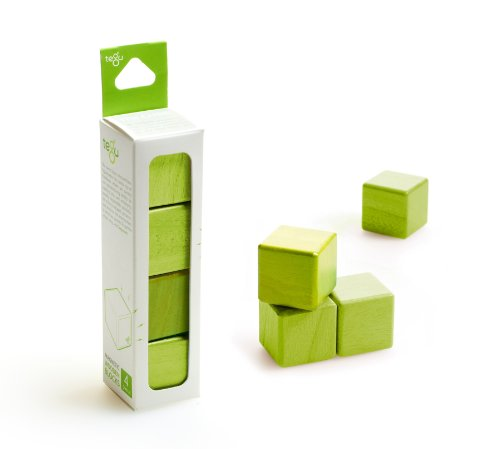 4 Piece Tegu Magnetic Wooden Block Cube Set, Green