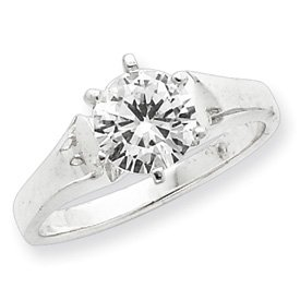 Genuine IceCarats Designer Jewelry Gift Sterling Silver Solitaire Round Cz Ring Size 7.00