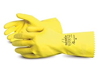 """Superior LF3020 Latex Flock-Lined Canners Glove with Pinked Cuff, Work, Chemical Resistant, 20 mil Thickness, 12"""" Length, Size 8, Yellow (Pack of 1 Dozen)"""