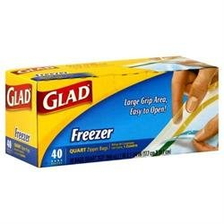 GLAD QUART SIZE FREEZER STORAGE BAGS 40 CT
