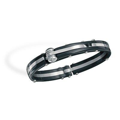 316L stainless steel and black plastic men's bracelet.