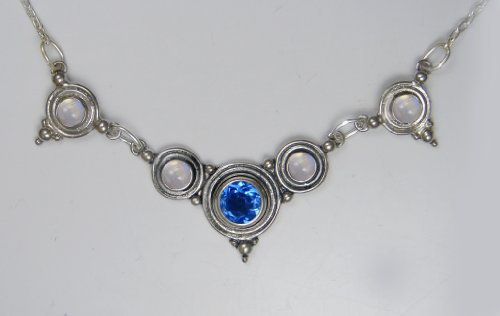 A Stunning Sterling Silver Gemstone Necklace Accented with Siberian Blue Quartz and Rainbow Moonstone