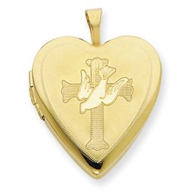 Genuine IceCarats Designer Jewelry Gift 1/20 Gold Filled 20Mm Cross With Dove Heart Locket
