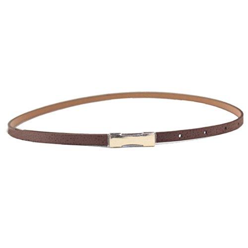 Sunward New Women Lady Fashion Metal Thin Gold Buckle Pu Leather Waistband Belt (Brown)