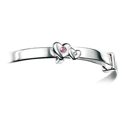 D for Diamond Silver Double Heart Birthstone Adjustable Bangle with Pink Tourmaline for Girls