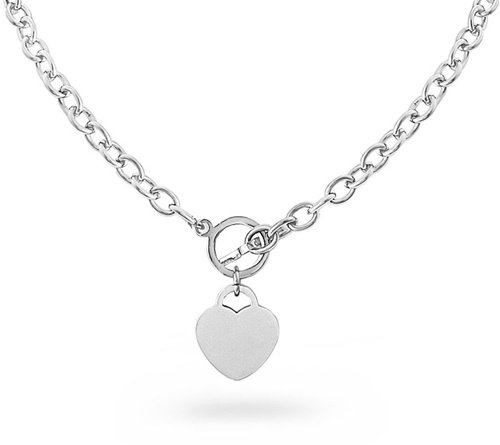 Designer Inspired Engravable HEART CHARM Stainless Steel Silver Link Chain NECKLACE Toggle Lock