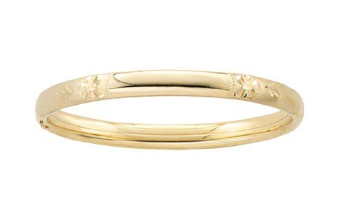 14k Yellow Gold Filled Children's Hand Engraved Guard and Hinge Bangle Bracelet