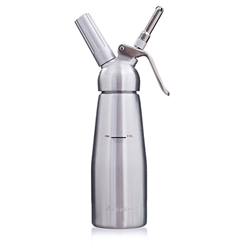 Acevan Professional Aluminum Whipped Cream Dispenser / Cream Whipper 500 ml - with 3 Stainless Steel Decorating Nozzles and Brush Set - Uses Standard N20 Cartridges (not included) (Smooth Jelly Dong compare prices)