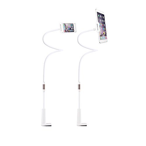 """Gooseneck iPhone Holder/ iPad Stand, Universal Flexible Lazy Bracket Long Arm Clip Detachable for 4-10.6"""" Cell Phones/ Tablet 360 Degree Rotating (White)"""