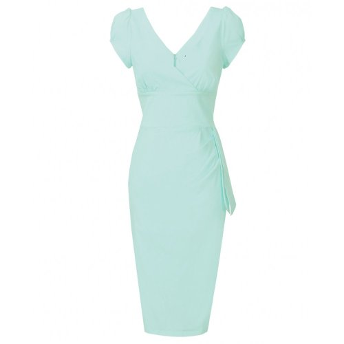 Hybrid Capped Sleeve Tie detail Wiggle dress Mint Mint 8