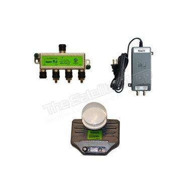 Directv SWM SL3S Lnb Kit With Power and Splitter (3D2RBLNBR0-01, PI21R1-03, MSPLIT4R1-03)
