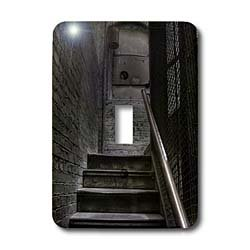 Roni Chastain Photography - stairway, brick, chain in abandoned building - Light Switch Covers - single toggle switch