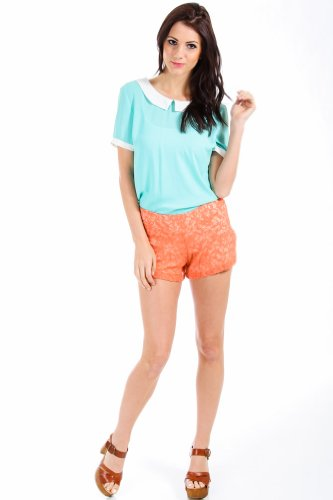 Audrey 3+1 Laced Lined Short Shorts in Orange