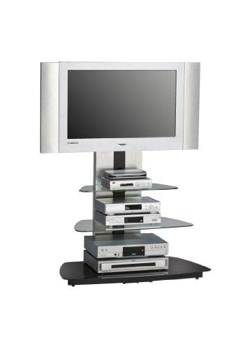 MAJA-Möbel 1618 9442 TV-Rack  Metall Alu - Schwarzglas  Abmessungen BxHxT  90 x 128 8 x 54 3 cm