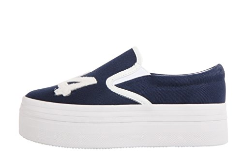 Jeffrey Campbell Wtf 74 Canvas Slip-on Platform Sneakers - Navy / White