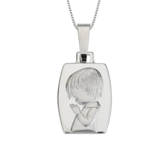 14k White Gold Praying Boy Medal Necklace, 18