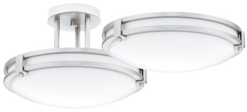 Lithonia Lighting 11750 BN M4 Saturn 26-Watt Single-Light Fluorescent Ceiling Fixture with White Acrylic Globe, Brushed Nickel