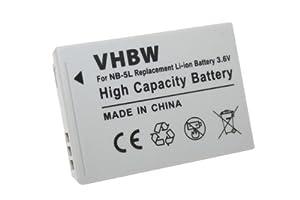 vhbw 650mAh (3.6V) AKKU passend für CANON Powershot SX220HS, SX220 HS, SX230HS, SX230 HS ersetzt NB-5L