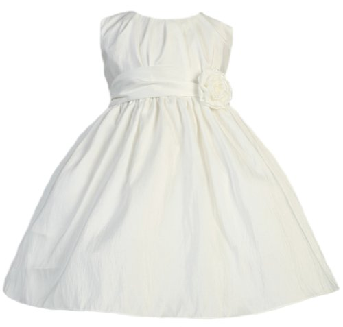 Baby-Girls Sweet Kids Pleated Taffeta Dress 24M Xl Off White (Sk B355)