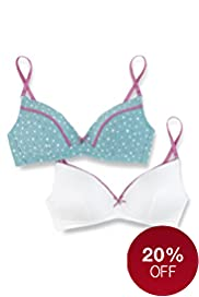 2 Pack Angel Cotton Rich Non-Wired Spotted A-C Bras