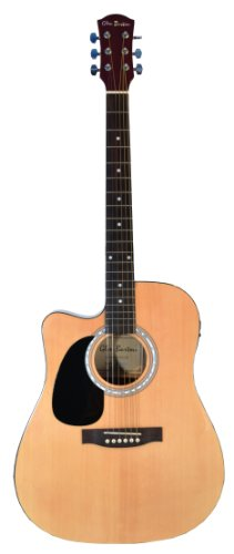 Cutaway Left Handed Natural Full Size Dreadnought Acoustic Electric Guitar - Lefty & Directlycheap(Tm) Translucent Blue Medium Guitar Pick