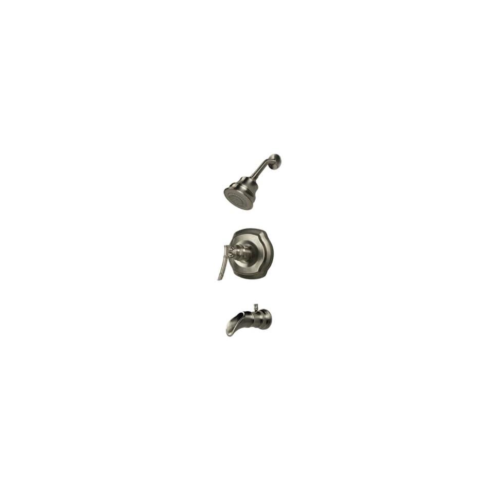 Pegasus 873 9004 Bamboo Series Pressure Balance Single Handle Tub/Shower Faucet, Brushed Nickel