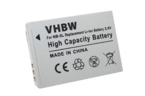 Batterie LI-ION compatible pour CANON Powershot SX220HS, SX220 HS, SX230HS, SX230 HS remplace NB-5L