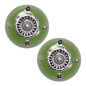 Nezetta Silver Lime Green Clip On Earrings