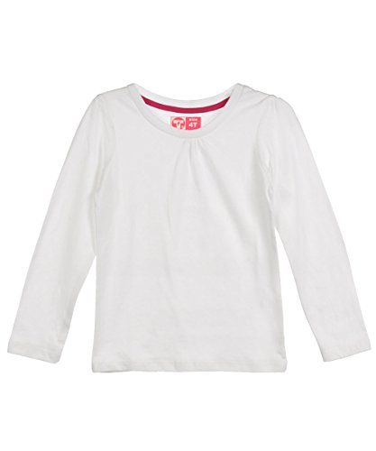 "French Toast Little Girls' Toddler ""Ruched Crew"" L/S Shirt - White, 4T front-922770"