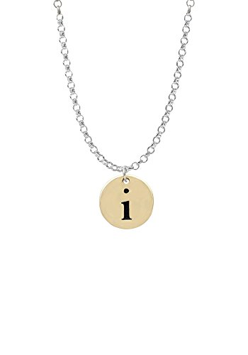Gold Tone Disc 1/2'' Initial - i - Necklace