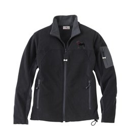 Pug Black Ladies Soft Micro Fleece Unlined Jacket with Embroidered image, & Bone Zipper Pull